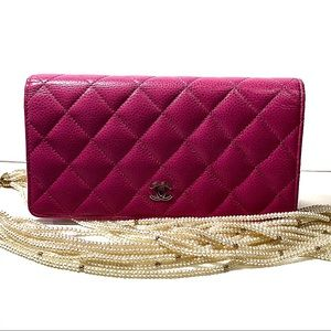 Chanel Yen  Caviar Leather Checkbook Style Wallet